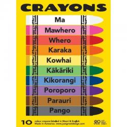 Coloured Crayons in Te Reo Maori and English