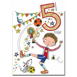 Rachel Ellen 5th Birthday Card - Footballer