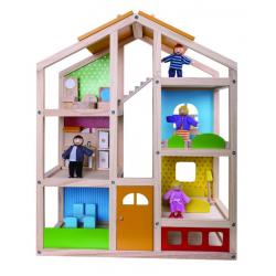 Wooden Dolls House - furnished and 4 dolls