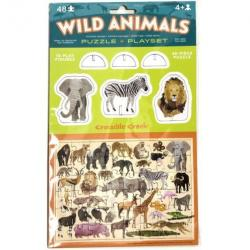 Crocodile Creek Wild Animals Puzzle + Playset