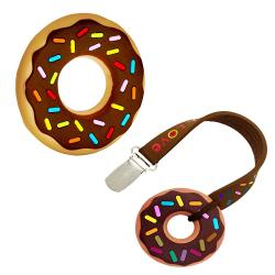 Silli Chews Unisex Chocolate Donut Baby Teether with Strap